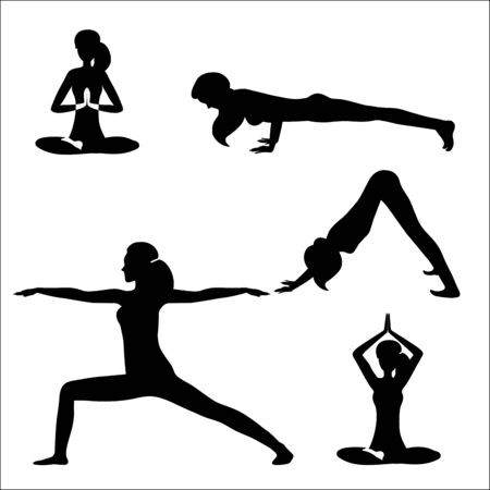 Vector illustration of a set girl doing yoga and meditating. Black silhouettes of girl isolated on white background. Silhouettes of girls in various poses of yoga. Practice poster design.
