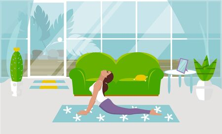 A vector illustration A girl practices yoga in a snake pose at home, in a cozy living room. Design of a modern room with furniture and accessories. Large window, glass door, exit to the courtyard