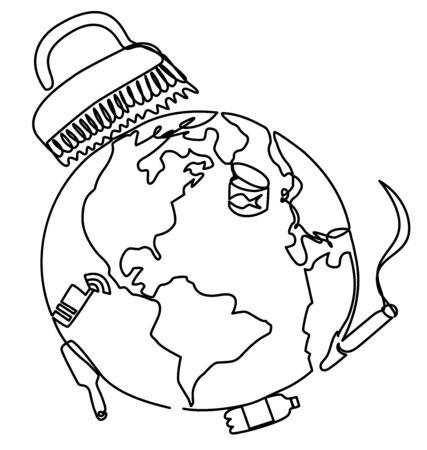 planet Earth is cleaned of debris Illusztráció