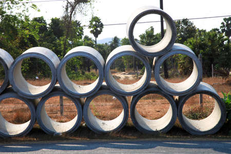 water vehicle: concrete tube Stock Photo