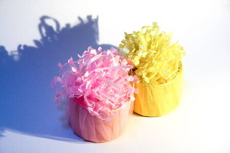 two tone: two tone yellow and pink lively wedding gift set