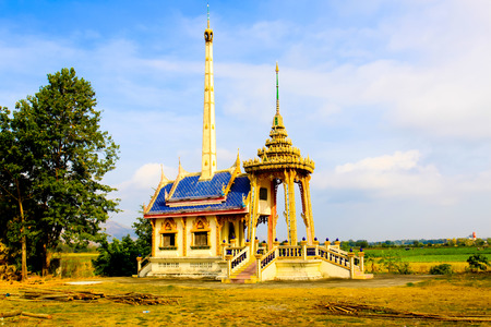 crematorium: Crematory, crematorium site at the day when cremating dead people, traditional buddhist -  Crematory with cloud and blue sky background in Thailand. Stock Photo