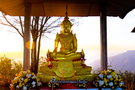 far eastern: Golden Buddha statues at the temple in Thailand