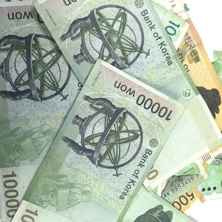 Korea Ten Thousand  Won Banknotes Stock Photo