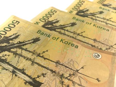 won: Korea Fifty Thousand Won Banknotes Stock Photo