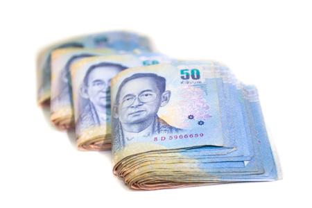 Thai Banknotes many fifty baht Stock Photo