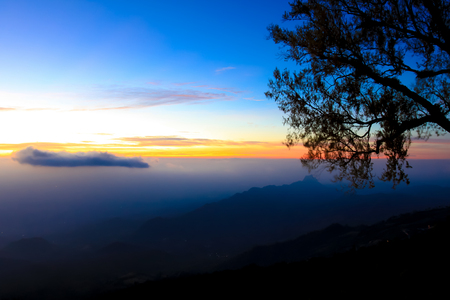 Beautiful and famous travel location The landscape photo, beautiful sea fog in morning time at Phu Tub Berk Viewpoint, Phu Hin Rong Kla National Park in Thailand