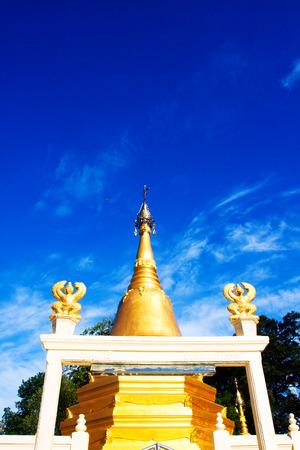 Golden Pagoda and stupa in Photharam Ratchaburi Thailand
