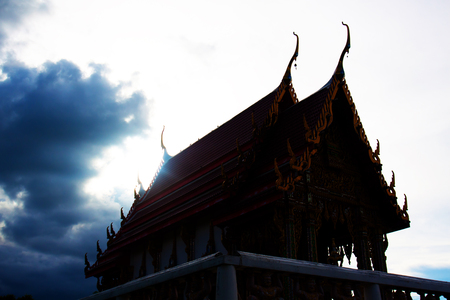 jade buddha temple: Beautiful Wat Thai golden temple, Photharam Ratchaburi Thailand