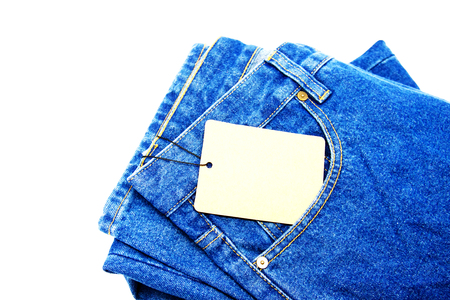 white washed: blue jeans pocket isolated on the white background