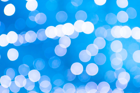 Defocused abstract blue lights background, bokeh lights wall concept Stock Photo