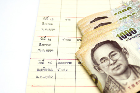 Thousand Thai banknote money background Archivio Fotografico - 110441570