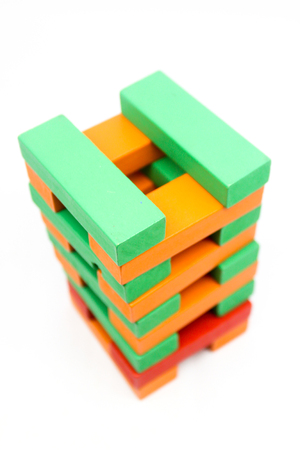 Colorful wooden blocks Arranged by the imagination Archivio Fotografico - 121910768