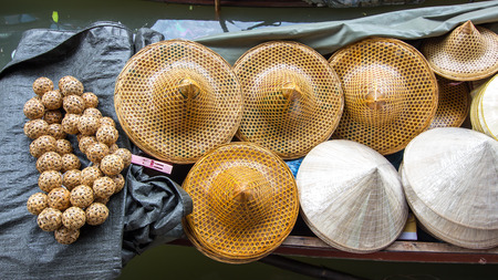 Hat on boat in flotting market,Thailand