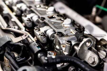 Close up in side engine Automobile valve system of car engine maintenance and service concept of car Imagens