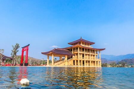 Hinoki Land Thailand attractions in Chiangmai  is a beautiful Japanese style blue sky water buildings in park Stok Fotoğraf - 137890281