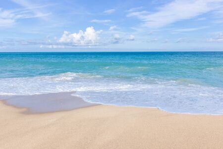 Summer concept Sea view sand beach with wave and blue sky nature view at Phuket tourist attraction beach Thailand