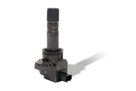 New Ignition coil of Gasoline engine in white background use for texture