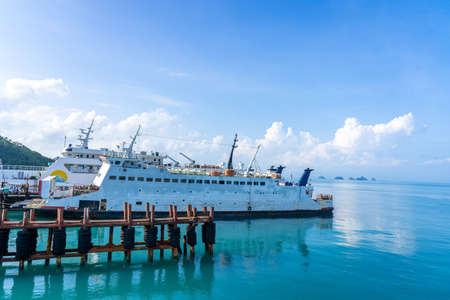 Koh Samui, Surat Thani Thailand-Oct 28,2019 : Ferry terminal boat for tourists to transport cars and tourists