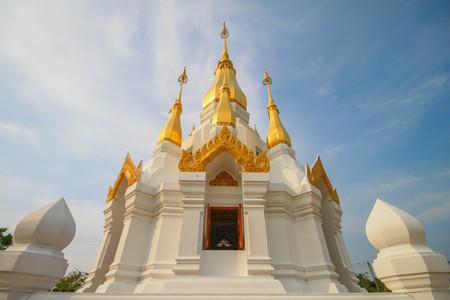khongjiam: Golden Pagoda in Buddhism Temple, Ubon Ratchathani, Thailand Stock Photo