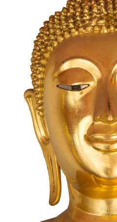 countenance: half the face closeup buddha statue on white background Stock Photo