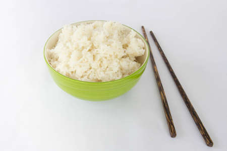 gree: Gree bowl full of rice on white background