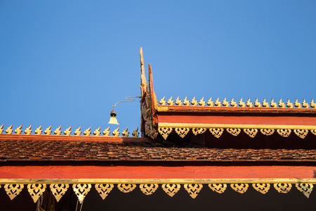 The roof of the temple has a Lanna designs beautiful blue sky  In Chiang Mai Thailand Stock Photo