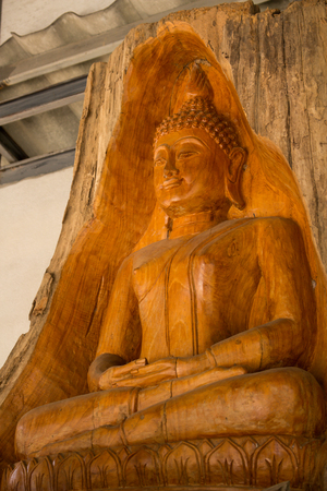 Buddha carved from a tree stump from The teak forests of Lamphun  Public worship, to preserve the forest. This wooden statue is located at Ban Thung Yao Lamphun Thailand  photo