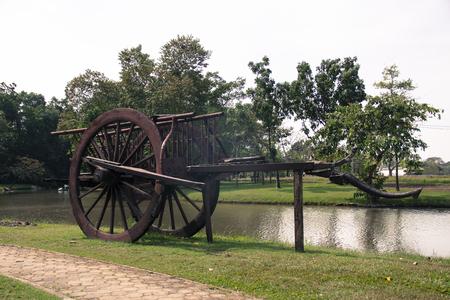 old wood farm wagon: old wood cart Stock Photo