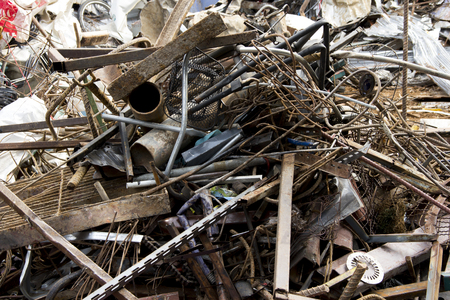 dump yard: iron scrap for recycle Stock Photo