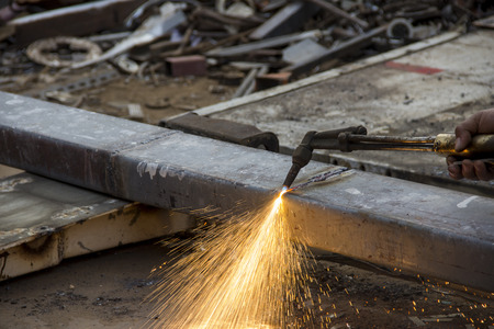 cutting scrap metal