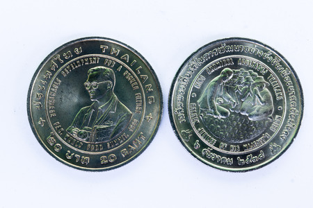 front and back of Thai commemorative coin twenty baht, The Awarding of the Agricola Medal to H.M. King Bhumidol Adulyadej Stock Photo