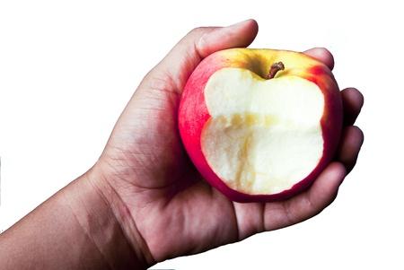 bitten: Bitten apple in hand