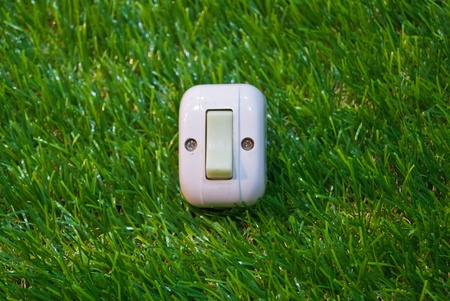 activation: Electrical white rocker light switch on green wall
