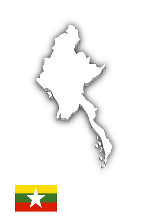 Map of Myanmar White photo