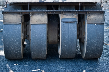 construction vibroroller: compactor roller during road Stock Photo
