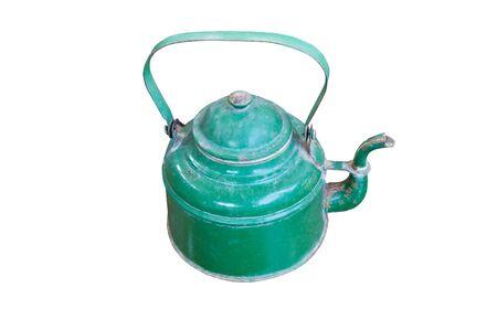 Old green teapot Stock Photo