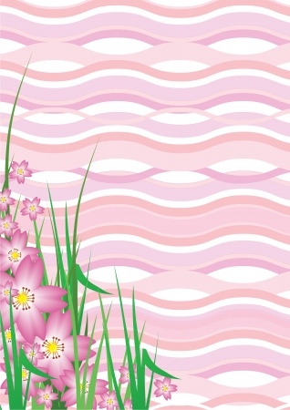 Pink Cherry Blossom Wavy Background Vector