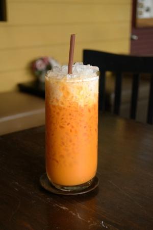 Thai tea served on a table photo