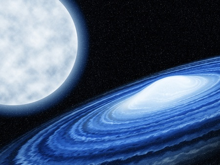 blue galaxy twist with cloud in the universe against the moon Stock Photo - 13524116