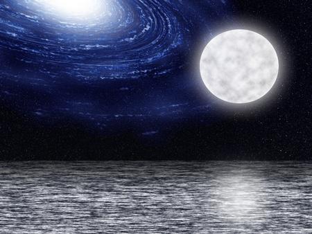 Torsion galaxie bleu avec des nuages ??dans l'univers contre la lune Banque d'images - 13524117