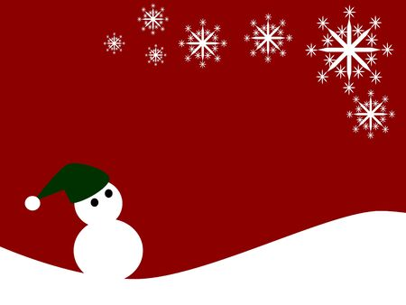 illustration of snowman wear hat on red background Vector