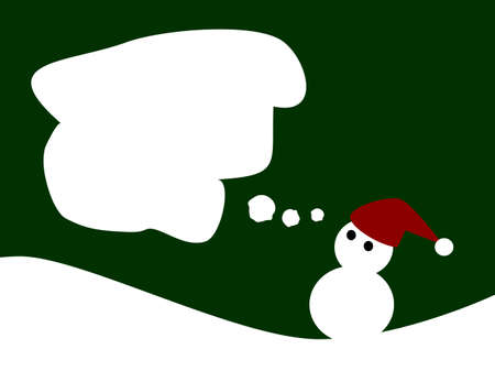 illustration of snowman wear hat on green background Vector