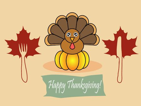 Illustration of turkey with banner happy thanksgiving Vector