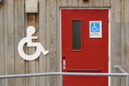 door of toilet for the wheelchair person photo