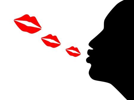 Illustration de la baiser coup silhouette de femme Banque d'images - 16573084