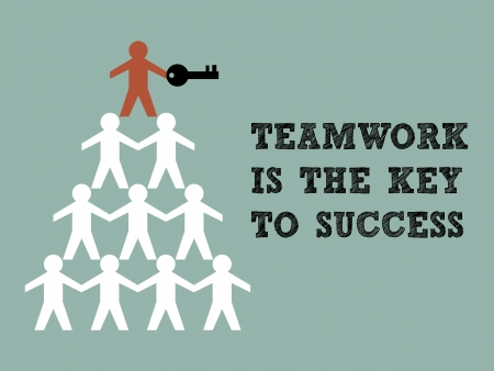 leadership key: Illustration of teamwork paper man hold the key to success