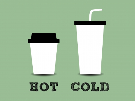 cold coffee: Illustration of a cup of hot and cold coffee