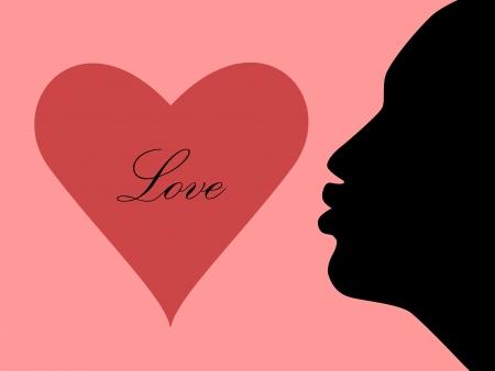 soplar: Ilustraci�n del coraz�n y la silueta de las mujeres golpe beso Vectores