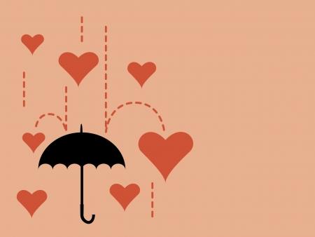 Illustration of falling heart to an umbrella Illustration